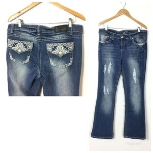 Soundgirl big stitch flare distressed jeans 15